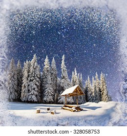 starry sky in a fantastic New Year's Eve. Winter background with some soft highlights and snow flakes