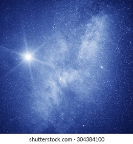 Starry sky. Galaxy and North star on the night sky.