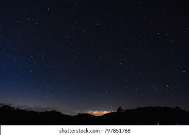 Starry sky with mountain silhouette