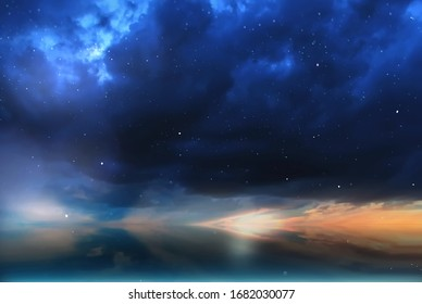 starry sky on cloudy blue pink sky at pink summer sunset  nature ,epic,dramatic sky ,weather forecast