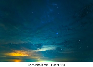 The starry sky with a radiance. evening night time