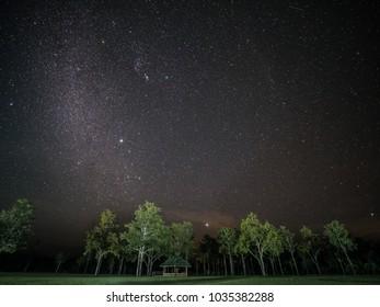 Starry sky at Thung Kik, Mae Ping National Park, Lamphun, Thailand