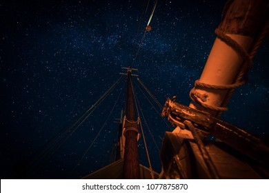 Stars Above The Masts and Boom - on 101 year old wooden schooner