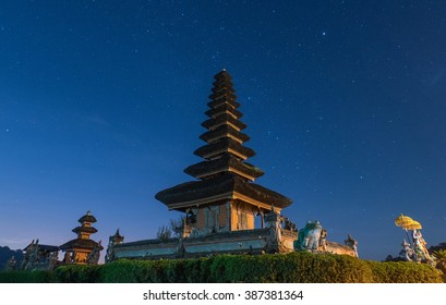 Stars above Pura Ulun Danu Bratan, Bali, Indonesia. Low Light Condition