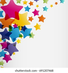 Stars background, abstract design pattern, colorful elements on a white background.