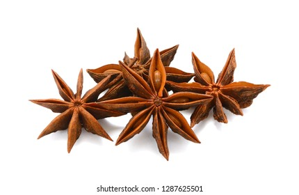 Stars of dried anise (Illicium verum) isolated on white background