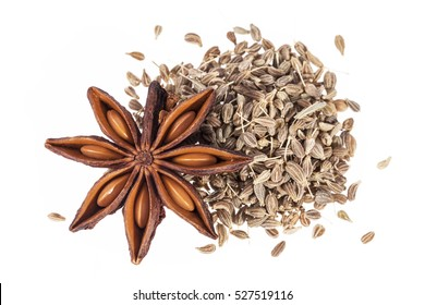 Stars of dried anise (Illicium verum) isolated on white background.