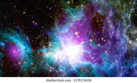 Stars, dust and gas nebula in a far galaxy. Elements of this image furnished by NASA.