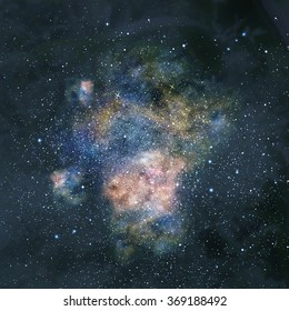 Stars, dust and gas nebula in a far galaxy