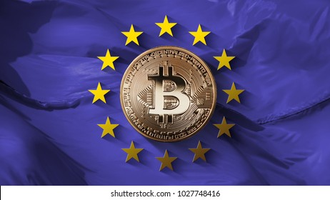 Stars of the European Union and coin bitcoin gold on an ultraviolet background