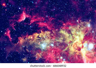 Stars and galaxy in a deep space.