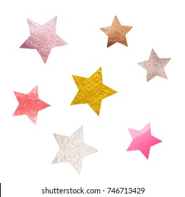 Stars glitter pattern  white  background. Different textures and colours. Christmas decoration, confetti. Symbol of holiday