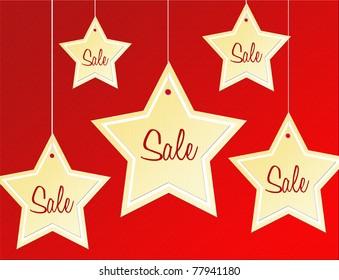 stars label sale over red texture background. Illustration