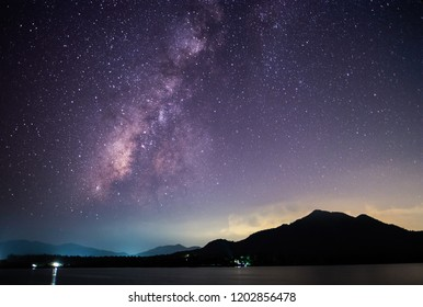 Stars and Milky Way in Dark Night Sky