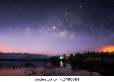 Stars and Milky Way in the dark night sky