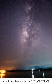 Stars and Milky Way in Night Sky
