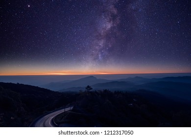 Stars and Milky Way in the night sky are very beautiful.