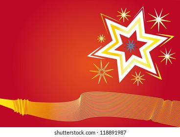 Stars on a red background with golden lines