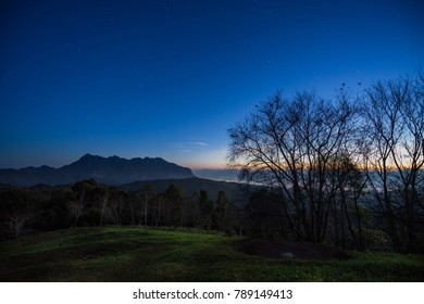 Stars on the sky over the mountain at twilight time