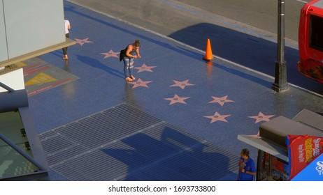 The stars on the Walk of Fame - view from Hollywood and Highland Center - LOS ANGELES, USA - APRIL 21, 2017