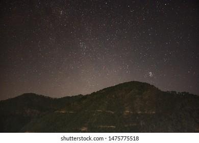 Stars over Dunda, Uttrakandh, India. Astrophotography in fall