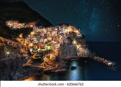 Sterne auf Manarola, Cinque Terre, Italien