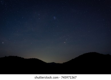 Stars Over Mountain in Nightsky Loei,Thailand
