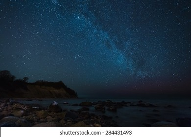 Stars over the sea, the Milky Way