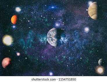 """Stars of a planet and galaxy in a free space """"Elements of this image furnished by NASA"""""""
