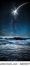 stars in the sky over the sea shine at night.