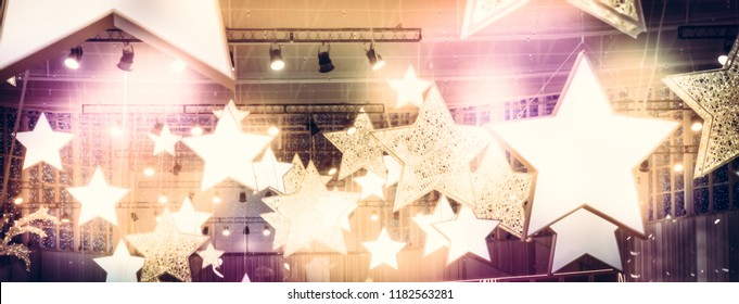 Stars spotlights soffits as finest hour celebrity show stage background with golden pink lights