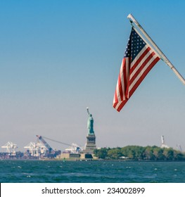 Stars and stripes - the American flag viewed from Battery Park in New York City