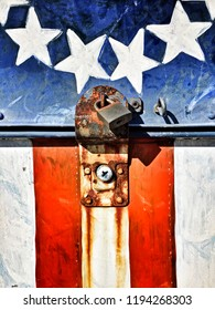 The stars and stripes decorate a locked mailbox located outside the American Legion post on San Juan Island.