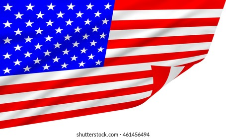 The Stars and Stripes flag on white background for United States of America