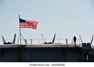 The Stars and Stripes in the warship