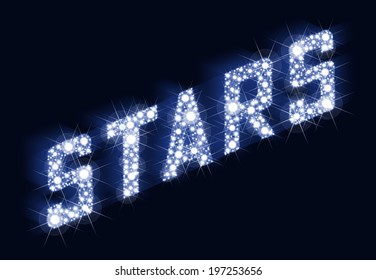 STARS Twinkling Lettering Made Of Stars - A lot of stars result in the lettering STARS. Illustration on black background.