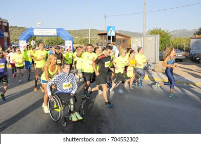 start of the 6th half marathon for the race of 5kms at Chios /Greece August 27,2017.
