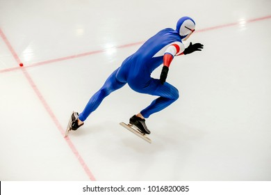 start athlete speed skater sprint race at competition