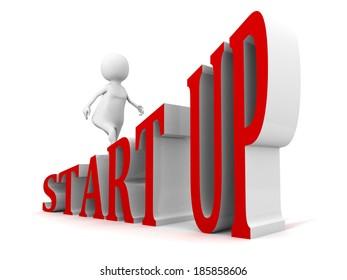 START UP business concept text ladder walking 3d businessman. render illustration