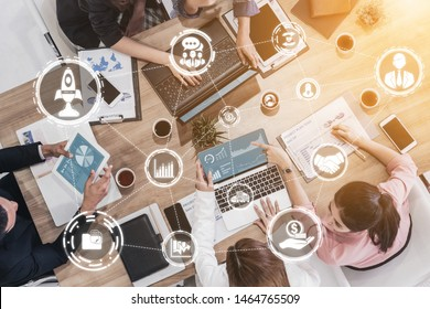 Start Up Business of Creative People Concept - Modern graphic interface showing symbol of entrepreneurship, fund, and project plan to start a new small business by smart group of entrepreneur.
