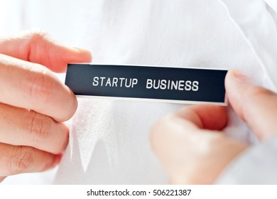 start up business label, business concept