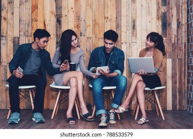 Start Up business team  meetings successful concept. A group of young people started to do business meeting to cooperate business and team meeting brainstorming planning analysing