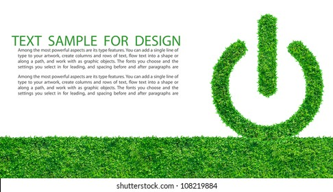 Start button from grass background, isolated on white