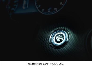 Start button in luxury car interior