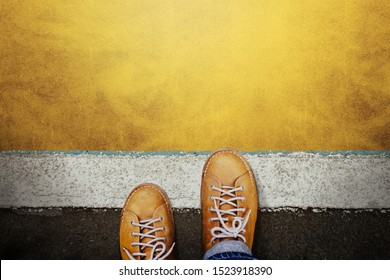 Start and Challenge Concept. a Man on Casual Leather Shoes Steps into the Start Line, Get Ready to Moving Forward or take a Chance to Success. Top View