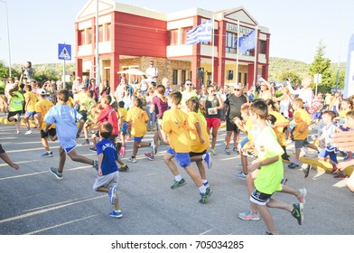 start of the children race of the 6th half-marathon chios/greece August 27,2017