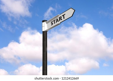 Start direction signpost with blue cloudy sky in background