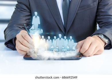 Start of the employee in the company concept design.