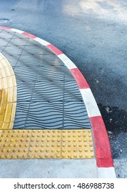start or end point of pedestrian lane for helping blind people
