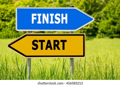 START FINISH Abstract yellow and blue road arrow highway directions signs on green field background
